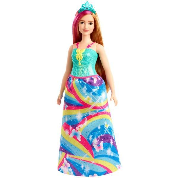 Papusile printesa de la Barbie Dreamtopia aduc visuri de basm in aspect fantastic cu atingeri colorateAceasta papusa printesa Barbie este imbracata pentru o ocazie regala intr-un corset albastru stralucitor si fusta vibranta cu imprimeu curcubeu O dunga roz in parul ei blond adauga un strop de culoare iar o tiara stralucitoare isi completeaza aspectul fantasticEste usor sa joci visuri reale si imaginate cu papusa printesei Barbie deoarece cand intri in Dreamtopia te trezesti intr-o