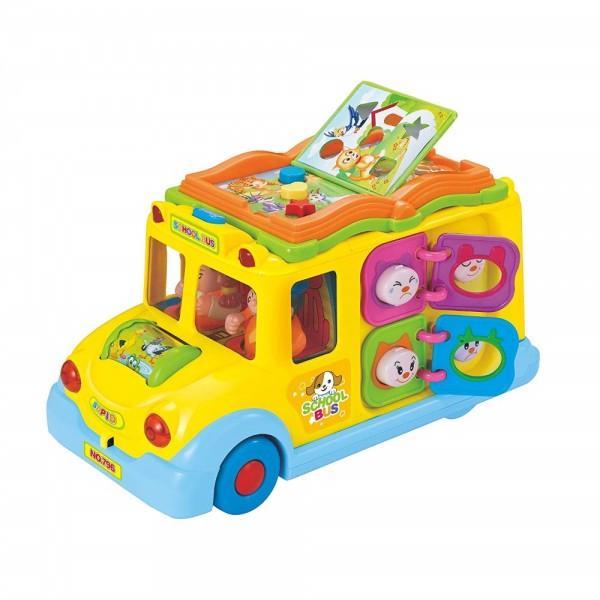 Jucaria Autobuzul scolar cu lumini si sunete de la Hola Toys va oferi copilului dumneavoastra momente pline de distractie si veselieContine 8 tipuri de jocuri care sunt simple dar extrem de benefice pentru dezvoltarea inteligentei si atrag curiozitatea copilului in timpul joculuiSunetele emise de catre aceasta ii starnesc curiozitatea descoperind noi moduri de a se juca Dezvolta perceptia vizuala si auditiva si coordonarea dintre maini si ochiFormele speciale si culorile vii