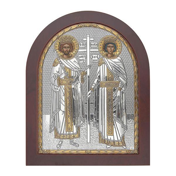 Icoana de Argint infatisand pe Sfintii Imparati Constantin si Elena