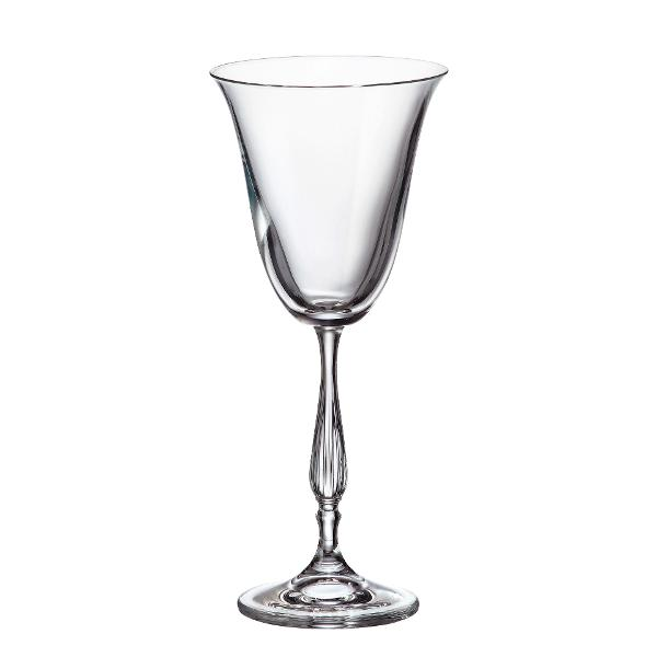 Set 6 pahare vin alb Bohemia Crystalite model Fregata 185ml cu Titanium
