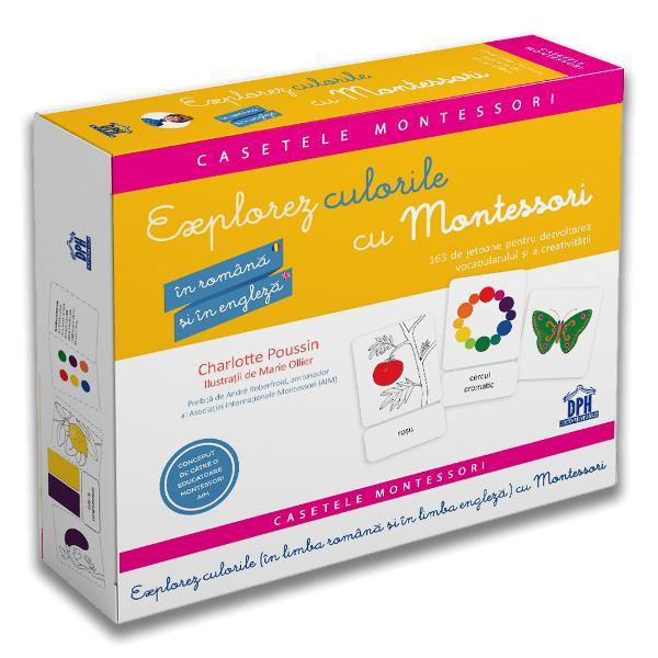 """""""Explorez culorile cu Montessori"""" în limba român&259; &537;i în limba englez&259; con&539;ine activit&259;&539;i bilingve pentru a dezvolta vocabularul &537;i creativitatea copilului de la primele cuvinte pân&259; la vârsta de 10 ani Aceast&259; cutie estetic&259; &537;i distractiv&259; include  o bro&537;ur&259; cu Maria Montessori rafinament senzorial lec&539;ia în trei pa&537;i &537;i multe"""