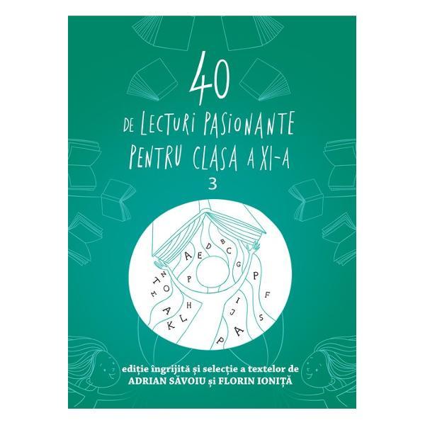 Antologia de fa&539;&259; se adreseaz&259; tuturor liceenilor dar mai cu seam&259; celor din clasa a XI-a întrucât structura sa urm&259;re&537;te principiul cronologic al fenomelului literarcultural conform indica&539;iilor programei de limba &537;i literatura român&259; pentru aceast&259; clas&259; Sunt ilustrate trei mari curente literare - romantismul realismul &537;i simbolismul - o parte distinct&259; fiind dedicat&259; perioadei 1900 -