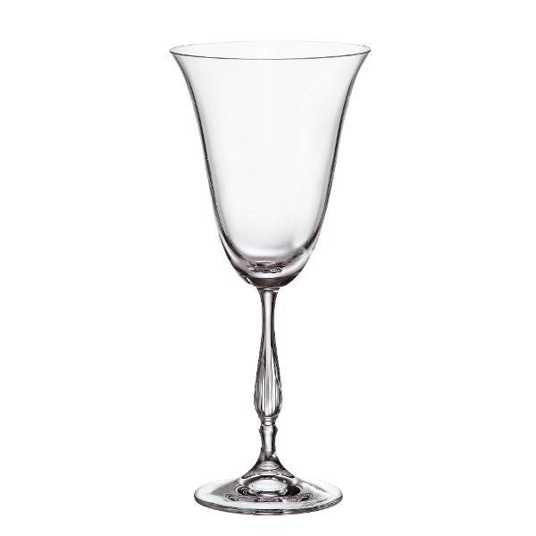 Set 6 pahare vin rosu Bohemia Crystalite model Fregata 350ml cu Titanium