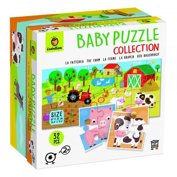 Se pot construi 8 puzzle-uri din 4 piese cu diverse animale de la ferm&259; pentru a crea personaje amuzante Piesele sunt cu fa&355;&259; dubl&259; astfel încât s&259; pute&539;i crea de asemenea o imagine mare frumos ilustrat&259; de dimensiune 67 x 32 cmPuzzle-ul a fost special conceput pentru a dezvolta abilit&259;&539;ile pre&537;colarilor cum ar fi abilit&259;&539;ile de observare &537;i manipulareCON&538;INE 32 de piese