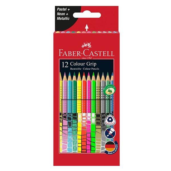 Creioane desen FABER-CASTELL Grip 12 culori - descriere produsAlegeti creioane colorate de cea mai buna calitate in culori intense pastel neon si metalizate de la Faber-Castell Creioanele au o zona patentata Grip cu mici puncte de masaj ce confera confort in utilizare Forma este triunghiulara pentru aderenta buna in mana Mina este rezistenta si lipita printr-o tehnologie speciala care previne ruperea Pigmentii sunt pe baza de apa si se pot curata de pe majoritatea materialelor