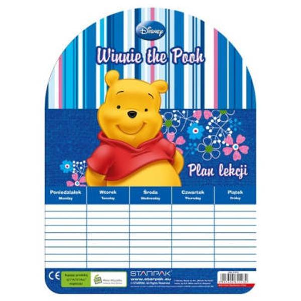 Orar Winnie The PoohOrarul face parte din colectia de articole pentru gradinita si scoala Winnie The PoohPe fata orarul are imprimat cel mai iubit ursulet Winnie the PoohDimensiuni185x001x25 cm