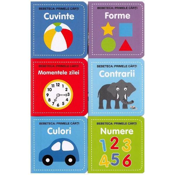 Cei mici se vor distra invatand culorile numerele formele primele cuvinte contrariile precum si momentele zilei cu ajutorul acestor minunate sase carticeleCele sase cuburi ce le insotesc pot fi stivuite contribuind la dezvoltarea dexteritatii a coordonarii ochi–mana si a abilitatilor de invatare prin joaca