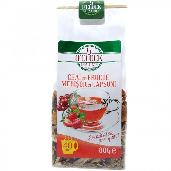 Ceai de fructe cu merisor si capsuniIngredienteMar macese stafide hibiscus merisor min 84 lemongrass coaja de portocala arome capsuni min 16 frunze de capsuni min 05p
