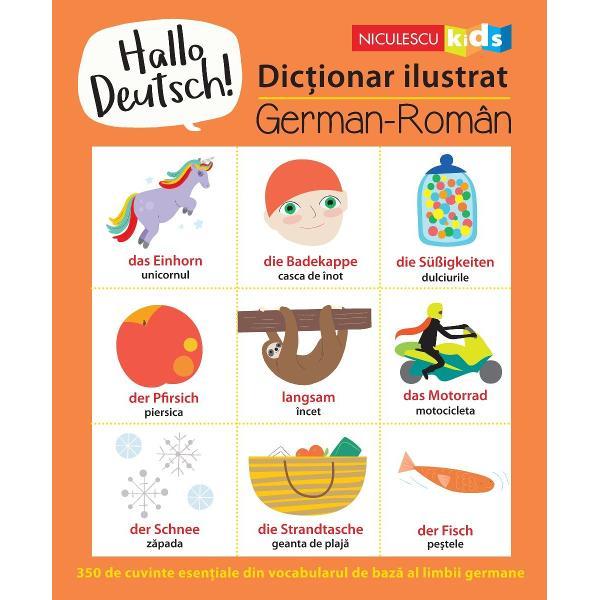 350 de cuvinte esen&355;iale din limba german&259;Organizat pe diverse teme acest dic&355;ionar ilustrat este u&351;or de consultat &351;i se adreseaz&259; copiilor care înva&355;&259; primele lor no&355;iuni în limba german&259; Cei mici vor g&259;si aici cele mai importante cuvinte din vocabularul de baz&259; al acestei limbi Ele sunt