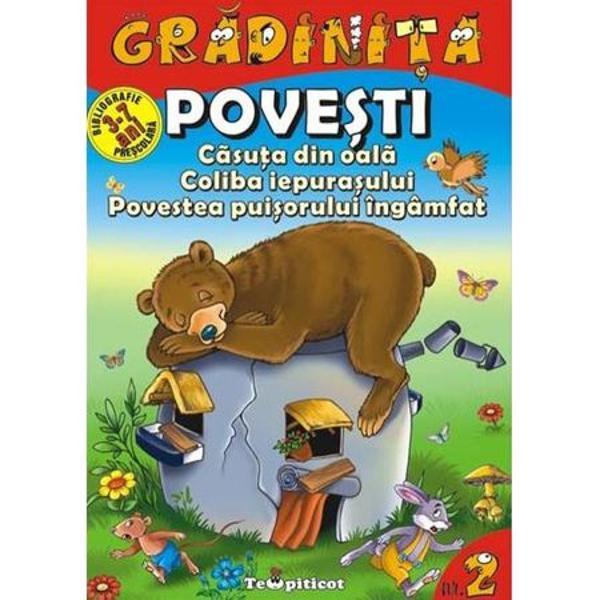 Specificul colectiei Gradinita este formatul concis si foarte accesibil In cele 16 pagini ale cartii se pot parcurge cu usurinta trei povesti clasice una mai incantatoare decat alta Povestile sunt insotite de minunate ilustratii color