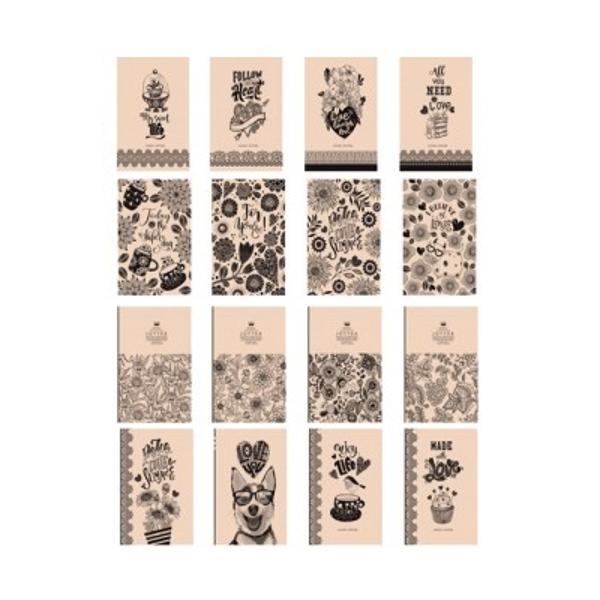 Carnet de notite cu coperta cartonata moale cauciucata Kraft- Format 113x165mm 32f mate32f dictanto32f veline hartie crema- Intre grupuri de foi - hartie Kraft 90g  m2- Nr de foi - 96 foi- Densitate - 70 grm2ambalare - 16 feluri de coperti