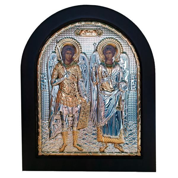 Icoana Argintata reprezentand pe Sfintii Mihail si Gavril Dimensiuni 1113cm Binecuvantata in Grecia