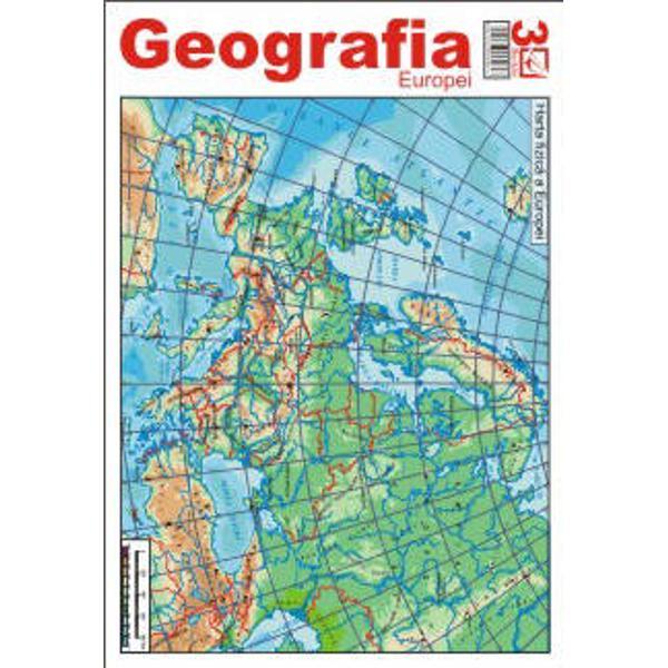Pliantul de Geografia Europei contine harta fizica harta politica harta resurselor de subsol harta climatica harta tectonica harta principalelor regiuni industriale ale Europei