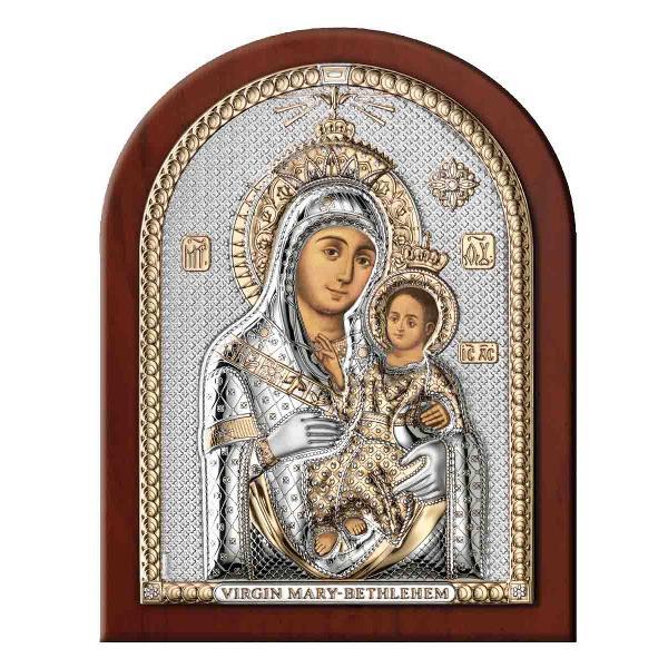 Mentine legatura cu Dumnezeu cu ajutorul Icoanei Maica Domnului de la Bethleem Este lucrata pe Foita de Argint 6×85cm Produsa in Italia