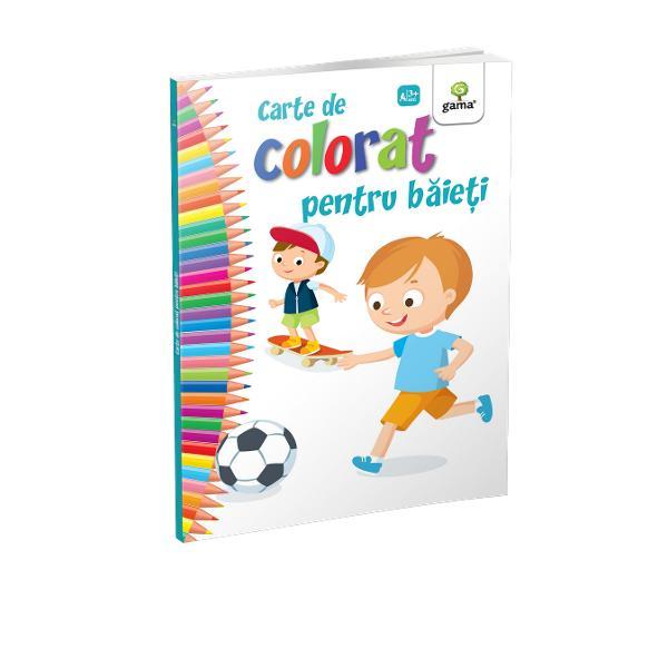 """""""Cartea de colorat pentru b&259;ie&539;i""""încurajeaz&259; copilul s&259; coloreze prin&539;i pira&539;i sau ma&537;ini de curseFormatul mare desenele cu contururi precise &537;i catrenele amuzante fac coloratul mult mai distractiv &537;i interesant"""