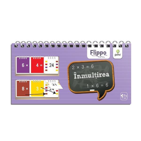 Flippo Înmul&539;irea încurajeaz&259; copilul s&259; re&539;in&259; logic tabla înmul&539;irii în loc s&259; o înve&539;e pe de rost ca pe o poezie De&537;i con&539;ine &537;i fi&537;e cu tabla înmul&539;irii numerelor de la 1 la 10 Flippo include explica&539;ii &537;i se bazeaz&259; pe o metod&259; inedit&259; Sistemul de autoverificare cu ajutorul codurilor de culoare este unul simplu &537;i eficient Cu