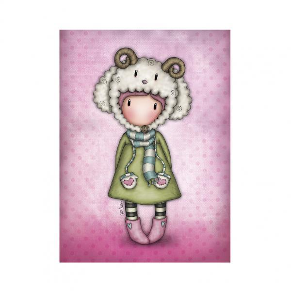 Felicitare Gorjuss LambkinsFelicitare Gorjuss Lambkins este un cadou absolut adorabil pentru persoanele dragi cu ocazia unei aniversari sarbatori sau chiar si si pentru alte ocazii Frumusetea aceste felicitari este data de cromatica si desing-ul extrem deelegantLambkinseste o micuta fetita Gorjuss adorabila ce are o caciula precum o oita Felicitarea este si mai frumoasa datorita detaliilor din slipiciIn nuante roz si verde aceasta