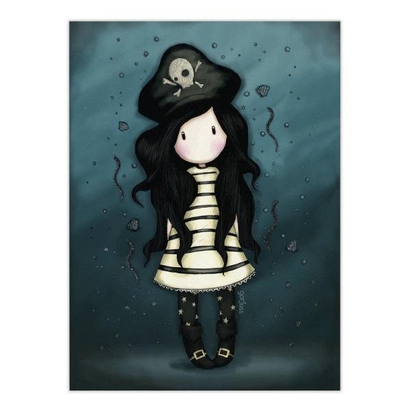 Felicitare Gorjuss PiracyFelicitare Gorjuss Piracy este un cadou absolut adorabil pentru persoanele dragi cu ocazia unei aniversari sarbatori sau chiar si si pentru alte ocazii Frumusetea aceste felicitari este data de cromatica si desing-ul extrem deelegant Piracyeste o micuta fetita Gorjuss puternica costumata in pirat Felicitarea este si mai frumoasa datorita detaliilor din slipiciIn nuante de albastru inchis cu negru aceasta
