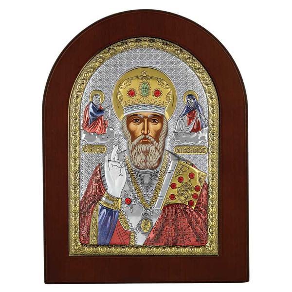 Icoana argint Sfantul Nicolae 4x6cm Auriu Color cu magnet