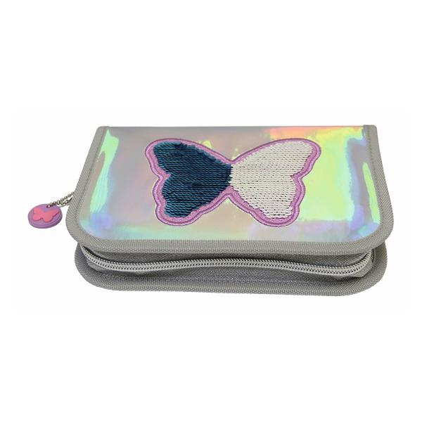 Penar neechipat Stylex argintiu efect holografic  Penar cu 1 compartiment broderie cu fluturi &537;i paiete reversibile