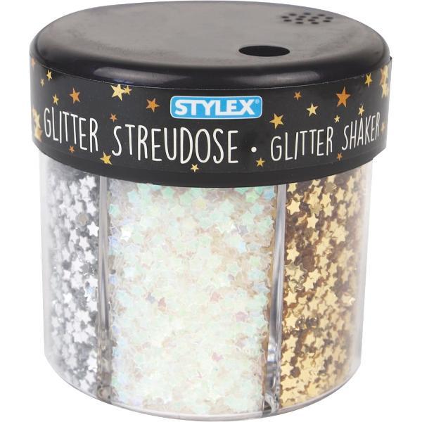 Dispenser cu glitter confetti 60 g inimi &537;i stele în culori diferite