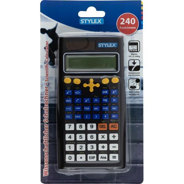 Calculator stiintific cu 240 functii functii de baza si stiintifice  display de 102 digitiFunctioneaza cu baterii solar-baterii incluseAmbalaj cutie de cartonProdus de STYLEX-Germania