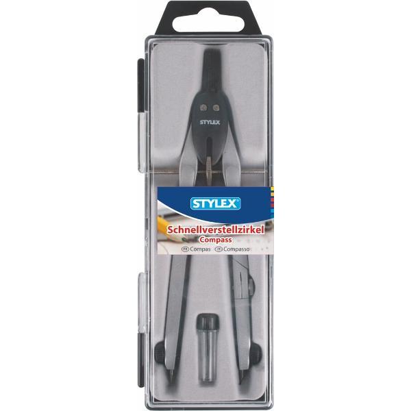 Compas 17 cm din metalTraseaza cercuri de 340 mmContine si un tub cu mine de rezervaEtui de plastic transparentProdus de STYLEX-Germania
