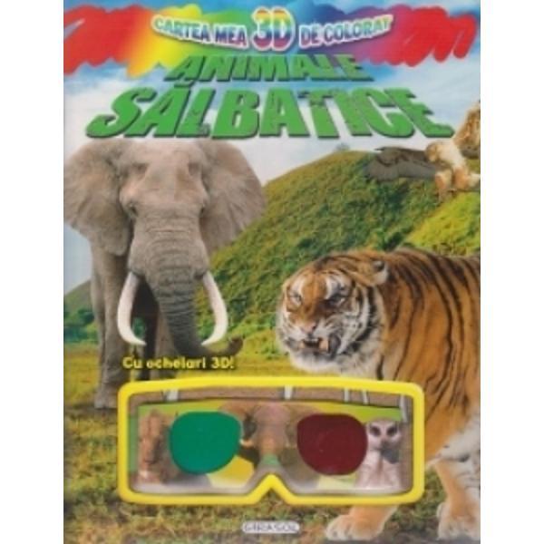 Cartea mea 3D de colorat - Animale salbatice Cu ochelari 3D