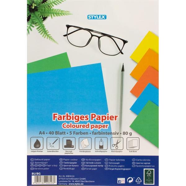 Hartie A4 80 gr colorata intens-40 coliset5 culori x 8 coliPoate fi folosita la imprimante laser inkjet copiator fax diverse activitati scolareAmbalaj punga din plastic