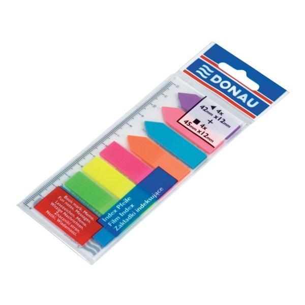 Index de plastic 12x45 mm cu rigla 12 cm8 culori x 25 file cu banda autoadeziva in partea superioaraIdeal pentru a marca diverse pagini se poate repozitiona si se poate scrie pe suprafata de plastic