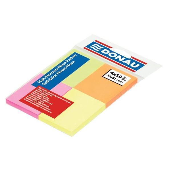 Notes autoadeziv 38x51 mm 200 file neon 200 pagini in 4 culori fluorescente puternice cu banda autoadeziva in partea superioaraIdeal pentru a scrie mesaje-atat acasa cat si la birou