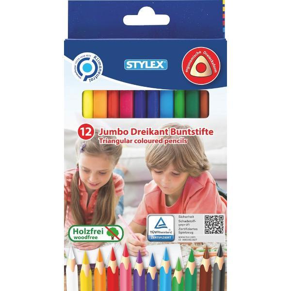 Creioane colorate Jumbo -12 culoriDiametru mina-5 mmAmbalaj cutie cartonProdus de STYLEX-Germania