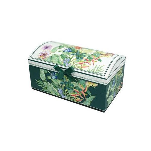 Nu gasesti spatiu de depozitare pentru accesoriile preferate Aceasta cutie de bijuterii din colectia florala dispune de un spatiu mare pentru bijuteriile complexe un organizator cu trei compartimente mici si oglinda Realizata din carton presat de inalta calitate este ideala pentru a depozita accesoriile tale preferate iar detaliile ce o imbogatesc o fac perfecta pentru a fi oferita cadouFlorile tropicale sunt adeseori numite exotice datorita asocierii lor cu destinatii insorite