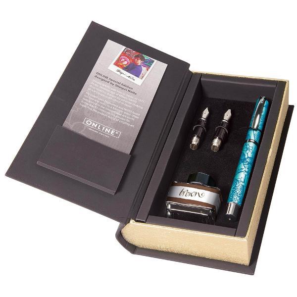 Set caligrafie Special Edition – contine stilou cu grosimea varfului de 08mm – calimara cu cerneala maro – 2penite cu grosimea varfului de 14mm si 18mm – ambalate in cutie in forma de carte