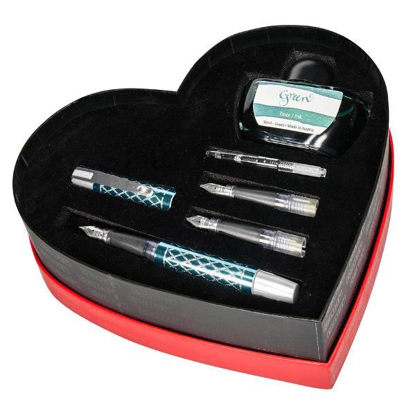 Set stilou Online-1 stilou turcuaz auriu-2 penite-1 convertor-calimara cerneala turcuaz 50 ml cutie in forma de inima