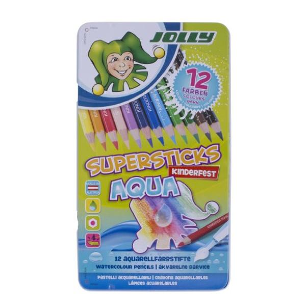 Creioane colorate acuarela JOLLY AQUA -cutie 12 culoriSet de creioane colorate cu mina moale ce in contact cu apa devine acuarelaPrima data sa desenam cu creionul dupa care cu pensula umezita trecem peste desen si vom crea un efect de imagine in acuarelaPutem lucra si
