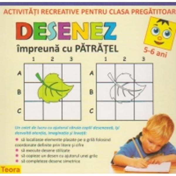 Un caiet de lucru cu ajutorul caruia copiii deseneaza isi dezvolta atentia imaginatia si invata - sa localizeze elemente plasate pe o  grila folosind coordonate definite prin litere si cifre;- sa execute desene stilizate;- sa copieze un desen cu ajutorul unei grille;-