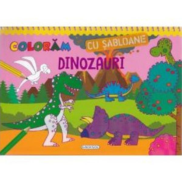 Varsta recomandata5-10 aniFoloseste unul dintre sabloanele incluse pentru a desena conturul dinozaurului favorit pe una din cele 16 pagini cu decor din carte Apoi coloreaza pagina