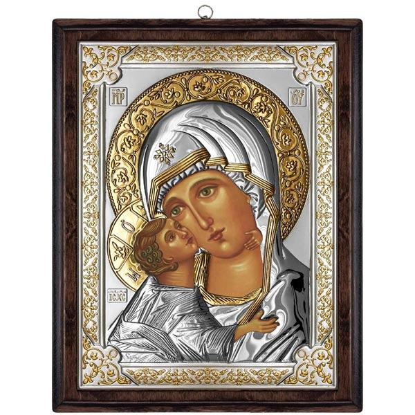 Icoana Argint Maica lui Vladimir 12x15cm Auriu