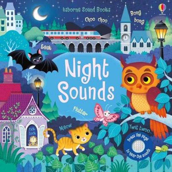 Discover the magic of the night in this enchanting sound book Little children will love listening to sleeping cats purring owls twit-twooing and bats squeaking when they press the sound buttons on the pages of this beautifully illustrated book Theres a simple story to read aloud holes to peep through and fingertrails to explore