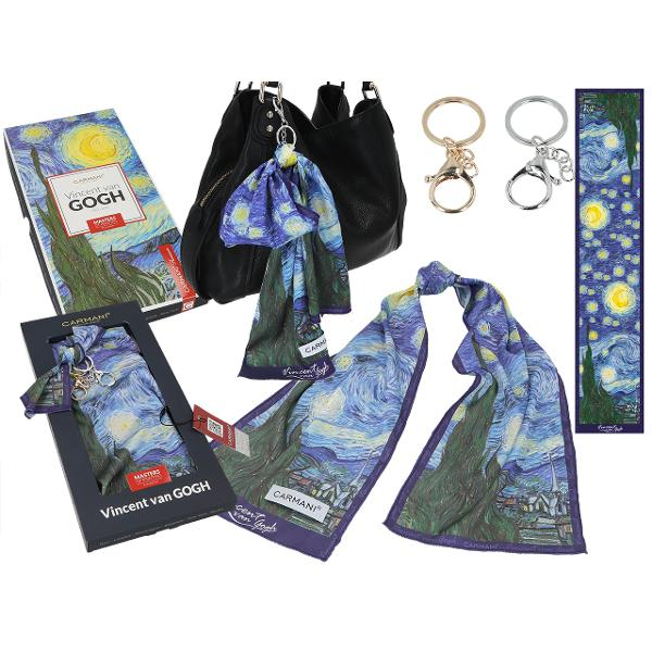 Esarfa accesoriu geanta Van Gogh noapte instelata 18x90cm 0234021