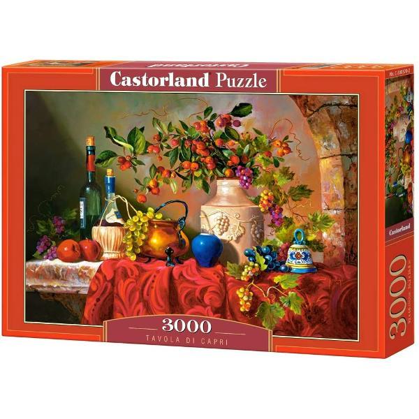 Puzzle de 3000 de piese cu Tavola di Capri Cutia are dimensiunile de 38×265×5 cm iar puzzle-ul are 92×68 cm Recomandat celor cu vârste de peste 9 ani