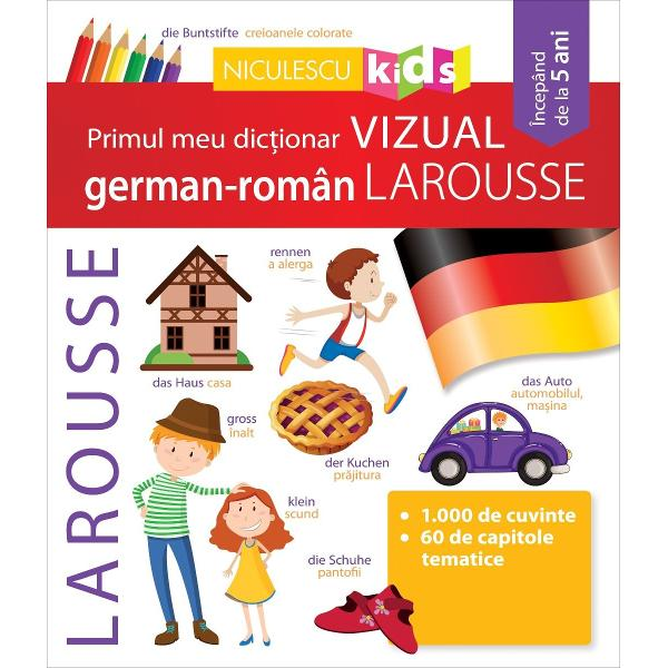 Prin intermediul acestui dic&539;ionar vizual care con&539;ine aproximativ 1000 de cuvinte din limba german&259; înso&539;ite de echivalentele lor din român&259; &537;i de ilustra&539;ii sugestive copilul dumneavoastr&259; va p&259;trunde tainele limbii lui Goethe• O lucrareu&537;or de consultat&537;i simplu de folosit• Un vocabular special adaptat pentru tinerii