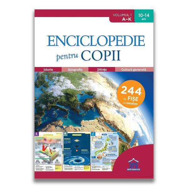 Enciclopedie pentru copii volumul I de la A la K con&539;ine 244 de fi&537;e de cercetare &537;i se adreseaz&259; copiilor cu vârste cuprinse între 10 &537;i 14 ani Con&539;ine informa&539;ii în ordine alfabetic&259; din domeniile istorie geografie român&259; sport matematic&259; art&259; educa&539;ie civic&259; &537;tiin&539;e cultur&259; general&259; &537;i ajut&259; copilul s&259; cunoasc&259; lumea