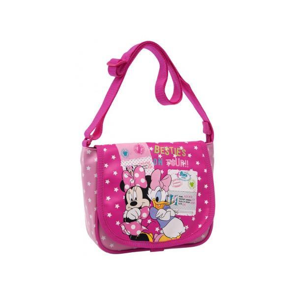 Geanta umar Disney Minnie & Daisy Travel cu 1 compartiment 1 buzunar exterior bareta ajustabila imprimeu cu personajele Minnie si Daisy confectionata din poliester