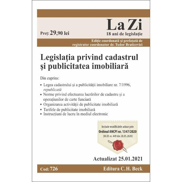 """Context legislativTudor Braticevici""""Rolul culegerii de fa&539;&259; este acela de a pune la dispozi&539;ia celor interesa&539;i posibilitatea de a se documenta cu privire la legisla&355;ia cadastrului &537;i a c&259;r&539;ilor funciare culegerea adresându-se avoca&539;ilor consilierilor juridici notarilor publici magistra&539;ilor persoanelor fizice sau juridice autorizate în"""