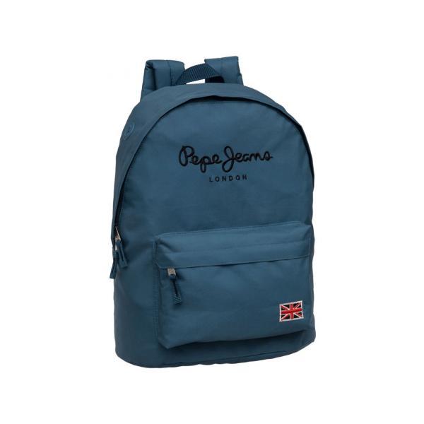 Rucsac Pepe Jeans London 42 cm cu 1 compartiment principal 1 buzunar exterior material poliester bretele ajustabile culoare albastra