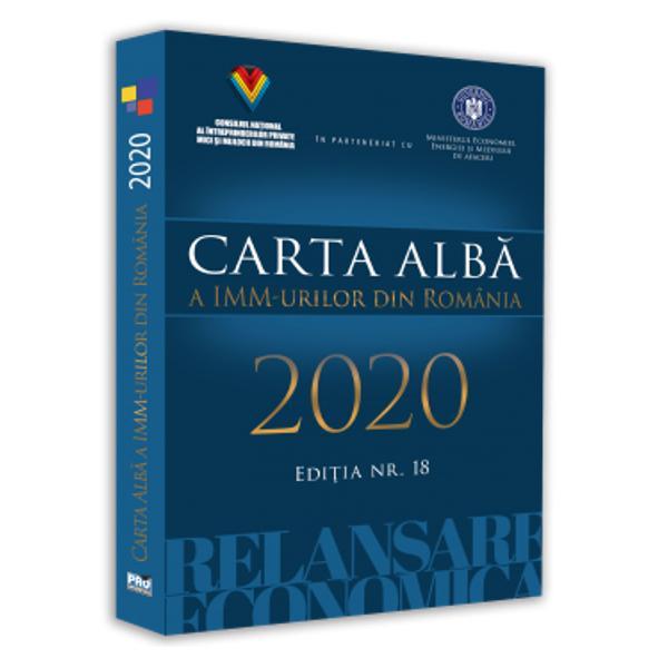 Edi&355;ia Cartei Albe a IMM-urilor din România din 2020 încorporeaz&259; cel de-al optsprezecelea raport de cercetare anual realizat consecutiv de c&259;tre Consiliul Na&355;ional al Întreprinderilor Private Mici &351;i Mijlocii din România-confedera&355;ie patronal&259; reprezentativ&259; la nivel na&355;ional pentru IMM-uri Volumul înglobeaz&259; cele mai recente cuprinz&259;toare ample &351;i aprofundate analize &351;i proiec&355;ii