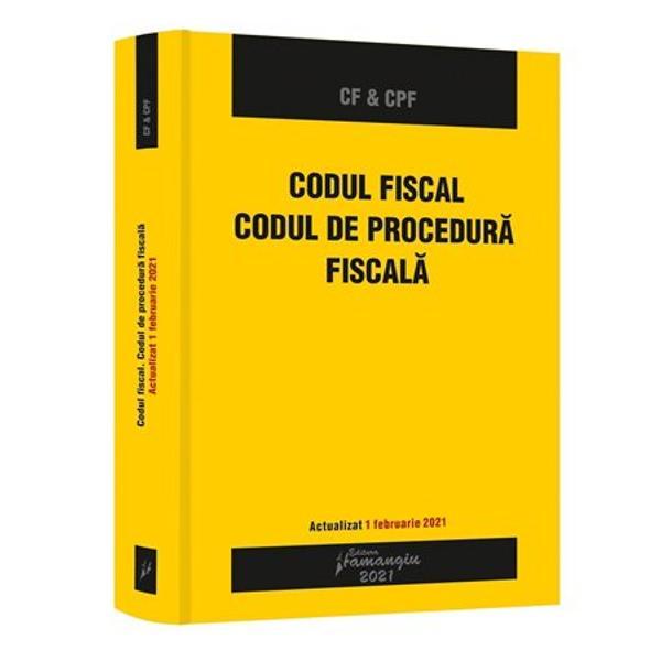 Volumul&160;Codul fiscal Codul de procedura fiscala&160;reuneste cele doua acte normative de baza in materia fiscalitatii actualizate cu modificarile si completarile la zi Textele codurilor sunt corelate cu intreaga legislatie conexa prin indicarea la nivelul fiecarui articol a ordinelor care contin instructiuni si proceduri de aplicare emise de Ministerul Finantelor Publice de Agentia Nationala de Administrare Fiscala sau de alte autoritati cu atributii de reglementare in