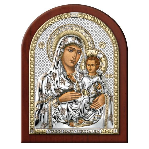 Icoana Argintata Maica Domnului de la Ierusalim 15x20cm Auriu